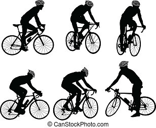 bicyclists silhouette - vector - illustration of bicyclists...