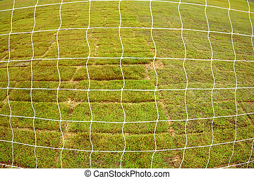 asciutto,  football, campo, fondo, rete, erba