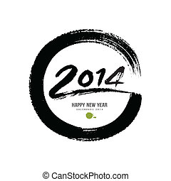Happy new year 2015 message paint brush circle design,...