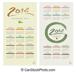 Calendar 2014 text paint brush collections on paper recycle...