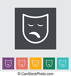 Theatrical mask. Single flat icon. Vector illustration.