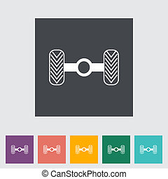 Chassis car single flat icon Vector illustration