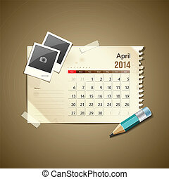 Calendar April 2014, vintage paper note, vector illustration