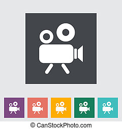 Videocamera Single flat icon Vector illustration