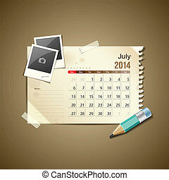 Calendar July 2014, vintage paper note, vector illustration