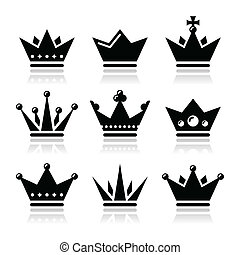 Crown, royal family icons set - King, Queen crown vector...