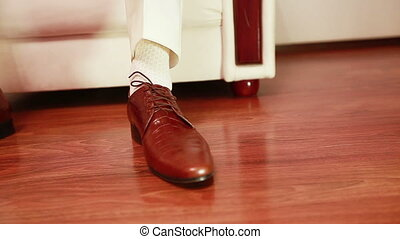 Dress brown shoes - Men wear expensive leather shoes Two...