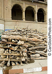 firewood in sacred city Varanasi for people cremation ritual...