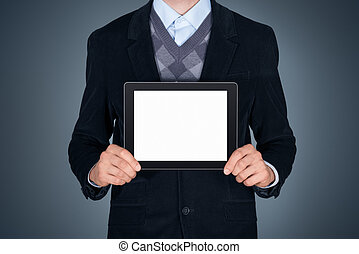 Business person showing blank digital tablet