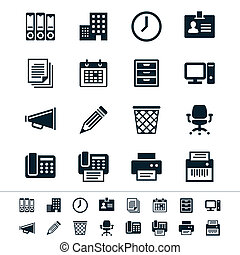 Business and office icons - Simple vector icons Clear and...