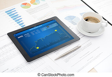 Stock market analytics - Modern digital tablet with stock...