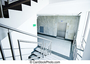 staircase in office building - staircase - emergency exit in...