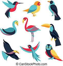 Vector set of logo design elements - birds signs and symbols...