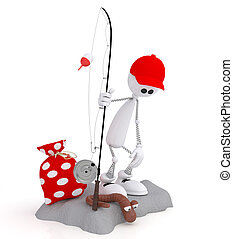 The 3D little man on fishing - The white little man a spring...