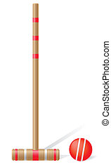 croquet mallet and ball vector illustration isolated on...