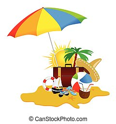 beach with stuff art vector illustration part five