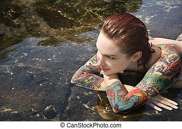 excitado, pelado, tatuado, mulher