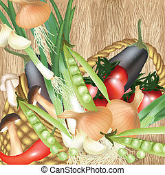 Background with assorted vector veg - Mix of vegetables...