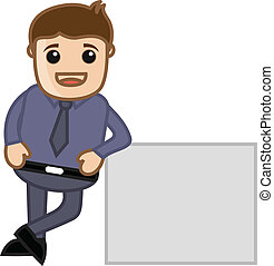 Man Standing with Blank Banner - Drawing Art of Cartoon...