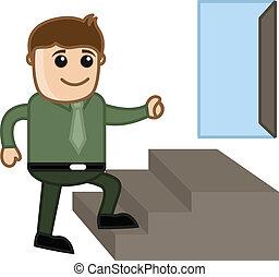Businessman Growing to Success Door