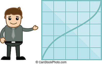 Man Showing Increasing Graph Line - Drawing Art of Cartoon...