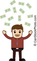 Man Standing in Money Rain - Drawing Art of Cartoon Happy...