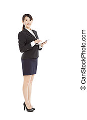 full length beautiful Business woman with tablet pc