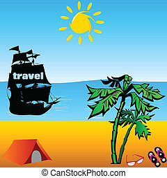 beach with travel boat vector illustration