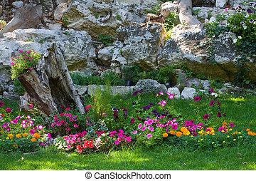 colorful landscaped formal garden.