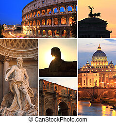 Photo collage of Rome at dusk, Italy