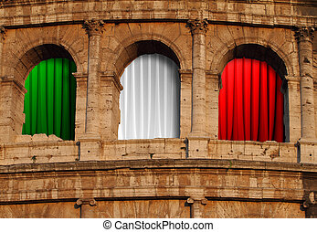 Close up of the Colosseum with Italian flag curtain