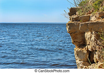 Water landscape - Landscape with a view of the steep rock...