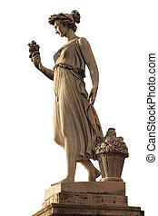 diosa, abundancia, estatua, plaza, popolo