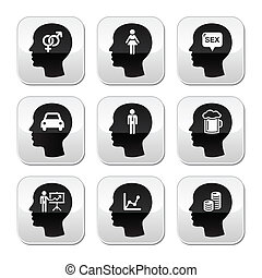 Head, man thoughts vector buttons - What men think of - grey...