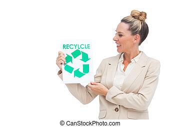 mujer de negocios, Mirar, reciclaje, logotipo, papel