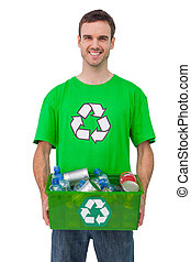 Attractive man holding box of recyclables