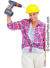 Funny handy woman with her power drill on white background