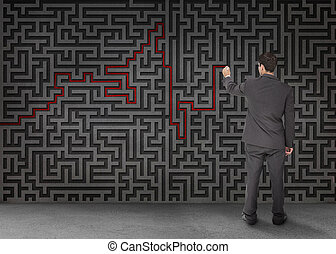 Rear view of a businessman drawing a red line through black...