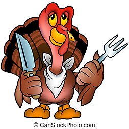 Brown Turkey - colored cartoon illustration