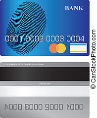 Bank card front side and turn with tape and a space for a...