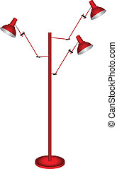 Floor Lamp - Floor lamp with three lights Vector...