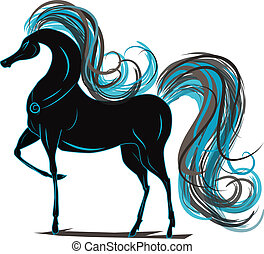 Horse with a blue mane - Vector graphics horse with a blue...