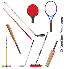 bits and stick to sports vector illustration isolated on...