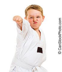criança, prática, taekwondo, move-se