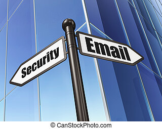 Privacy concept: Email Security on Building background