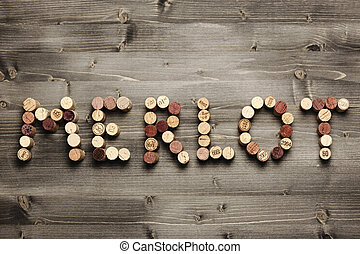 "Merlot - ""MERLOT"" written with corks"