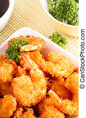 Delicious tempura deep fried prawn - Delicious tempura many...
