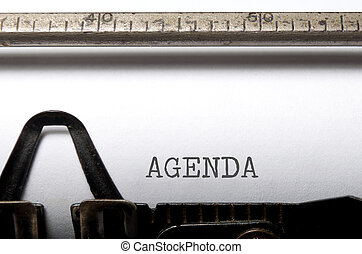 Agenda printed on a typewriter