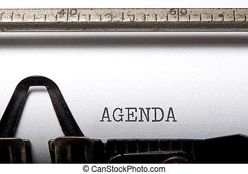 Agenda printed on a typewriter