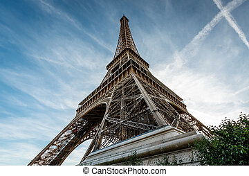 Wide View of Eiffel Tower from the Ground, Paris, France